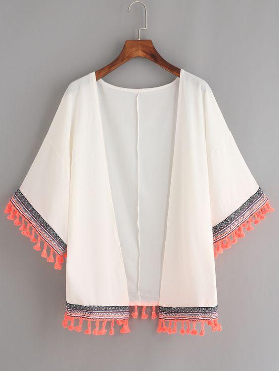 Kimono en mousseline avec franges - blanc -French SheIn(Sheinside)