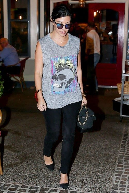 Kourtney Kardashian Enjoys Date Night in Lauren Moshi Tank & Jean-Michel Cazabat Pumps