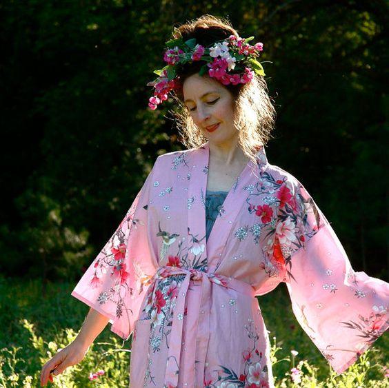 Cotton Kimono Jacket// Japanese Floral Kimono// by AstralBoutique