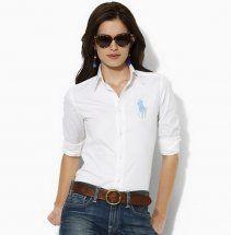 camicia ralph lauren azzurro big pony donna in bianco maniche lu.Camicia colletto bianco temperamento semplice, classico selvaggio.come contatto:annapolo888@gmail.com