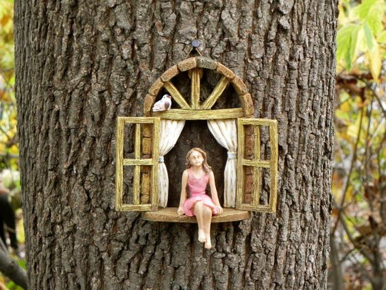 Fairy Garden Accessories Window with sitting girl and bird - miniature garden accessory - fairy door window - fairy garden accessory: