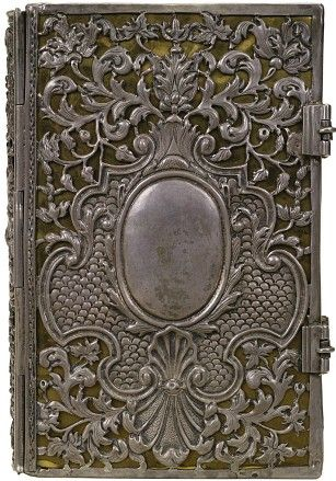 'New Testament'  Silver metal on black leather  Binder unknown, 1710