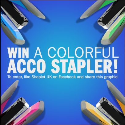 Shoplet UK is giving away four colourful staplers from Acco! To win: Like Shoplet UK on Facebook, repin, and email contests@shoplet.com to let us know which colour stapler your like best! Good luck everyone :)