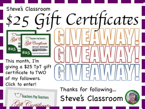 This month, I'm giving a $25 TpT gift certificate to TWO of my followers. Click to enter! Enter by April 30 for your chance to win!