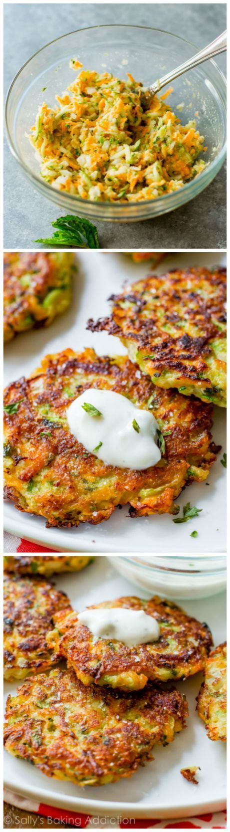 Golden brown, crisp, and light zucchini fritters! Learn the trick to getting them EXTRA crisp on sallysbakingaddiction.com !