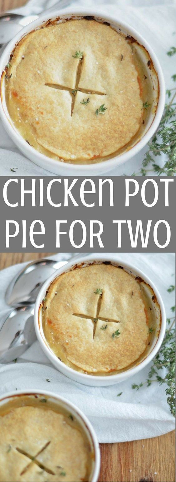 Chicken Pot Pie for Two Recipe via Jessica Wood - This delicious chicken pot pie is perfect for a cozy Sunday Supper or date night in!