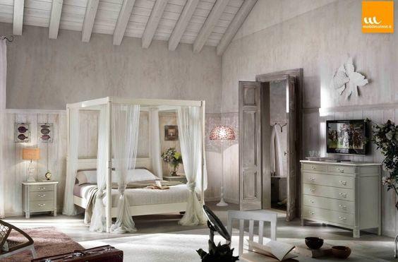 foto di camera da letto in stile in stile country : camera shabby ... - Camera Da Letto Baldacchino