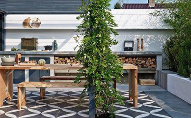 Tuinen keuken hedendaags and buitenkeukens on pinterest - Buitentuin ontwerp ...