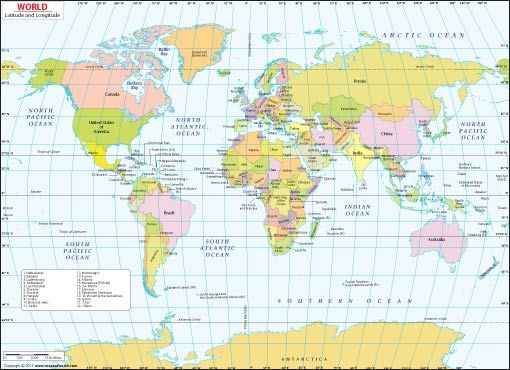 Lat And Long World Map World Lat Long Map | Map coordinates, World geography map