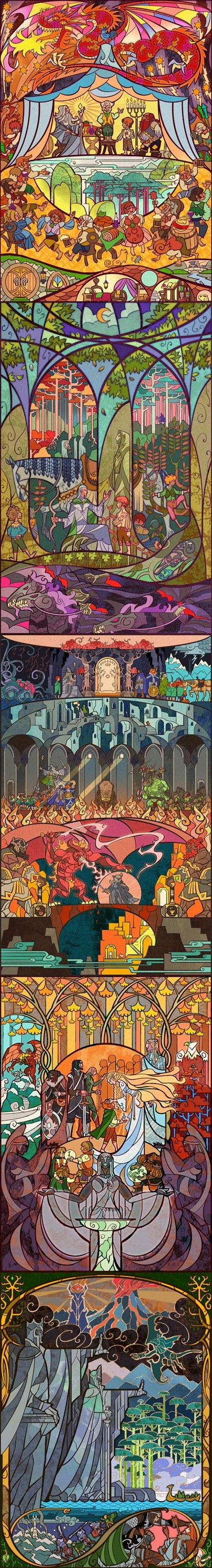 Stained glass Lord of the Rings:
