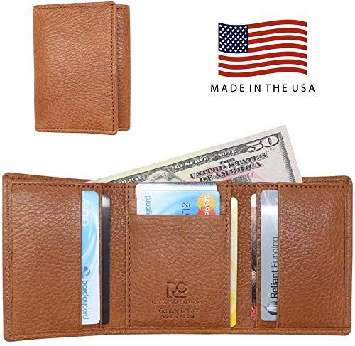 Rfid Blocking American Factory Direct Genuine Leather Slim Bifold Wallets
