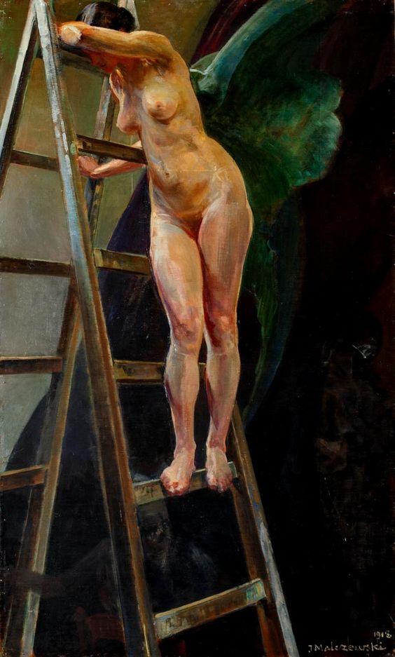 Jacek Malczewski - Nude on a ladder: