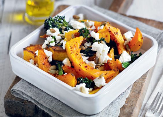 Seriously, I could eat this whole bowl of squash. I used chili powder by accident and still came out great. It's a keeper! http://sheerluxe.com/2012/02/10/roast-squash-feta-pumpkin-seeds-and-sprouting-broccoli