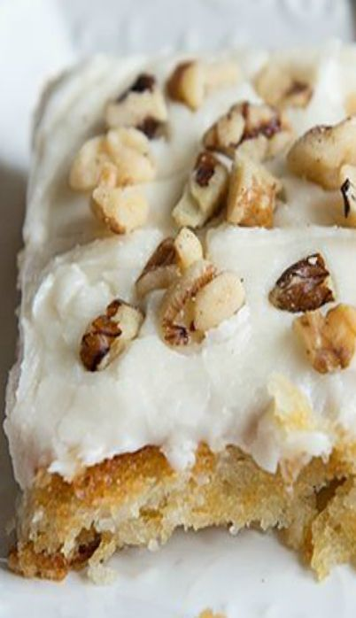 Vanilla Texas Sheet Cake Recipe ~  a twist on a classic church potluck recipe, topped with a creamy vanilla frosting and chopped  walnuts.