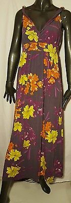 GARNET HILL Maxi Dress Empire Waist Sleeveless Multi Color Floral sz XS