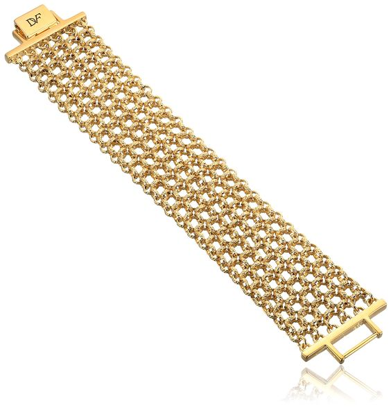 """Diane von Furstenberg """"Atlantis"""" Woven Chain Bracelet. Items that are handmade may vary in size, shape and color. Made in China. gold plated woven chain bracelet. Imported."""