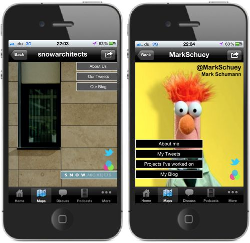 Our very own Iphone mini app within the Architect Map App..