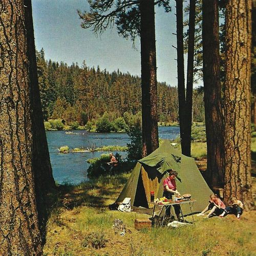 themcgovernresidence: Camping on the Metolius River near Sisters, Oregon Ray Atkeson © 1968 #poler #polerstuff #campvibes