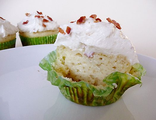 Pancake cupcakes with maple-bacon frosting.