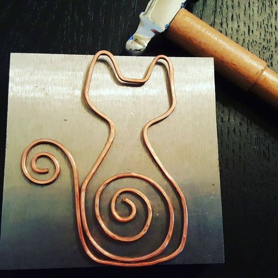 Hammered Copper Wire Cat Bookmark by WiredEarthCreations on Etsy