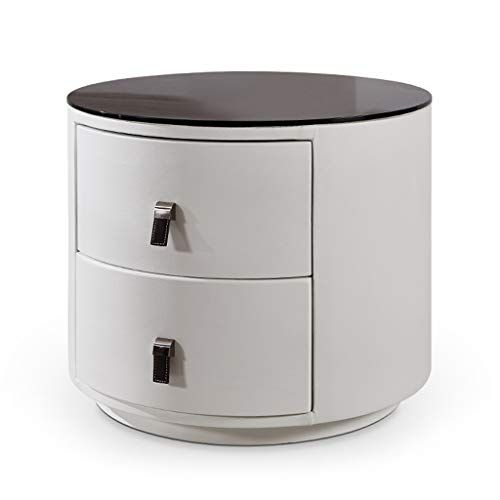 Modern Round Bedside Table Black Glass Tabletop Imitation Leather