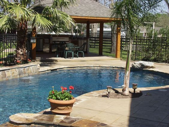 Nice patio ideas and pools on pinterest for Outdoor kitchen designs with pool