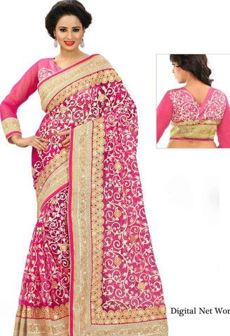 Pink Net Designer Saree..@ fashionsbyindia.com #designs #indian #fashion #womens #style #cloths #clothes #stylish #casual #fashionsbyindia #punjabi #suits #wedding #saree #chic #elegance #beauty #outfits #fantasy #embroidered #dress #PakistaniFashion #Fashion #Longsuit #FloralEmbroidery #Fashionista #Fashion2015 #IndianWear #WeddingWear #Bridesmaid #BridalWear #PartyWear #Occasion #OnlineShopping