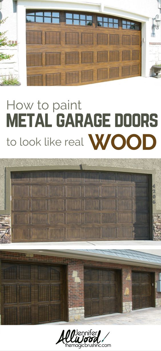 Home wells and garage on pinterest for Wood look steel garage doors