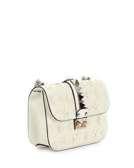 Valentino Lock Small Floral Shoulder Bag Applique Ivory Leather