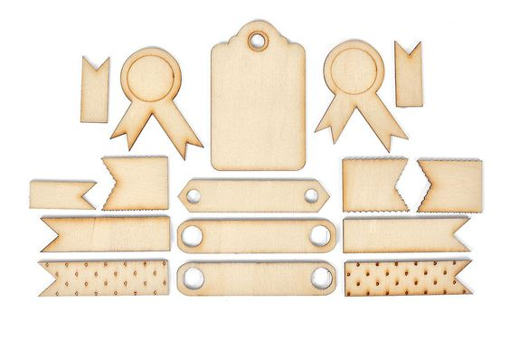 Etiquettes en bois autocollantes, 16 pc.