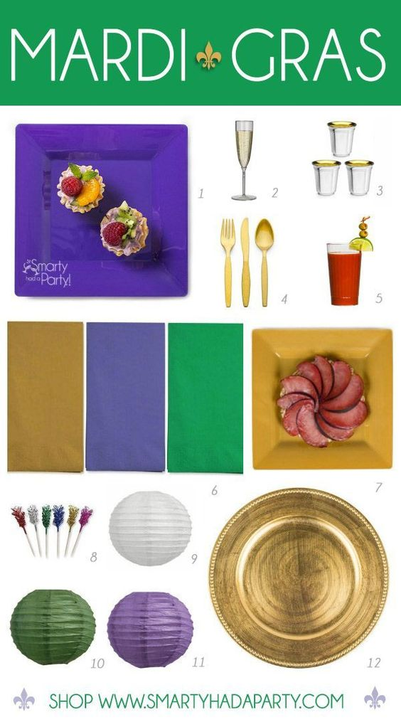 Eat, drink and Mardi Gras on! Check out our favorite Mardi Gras partyware. | Smarty Had A Party!