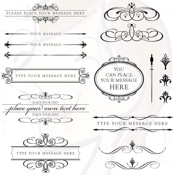 word clip art wedding embellishments | Vintage Calligraphy Clip Art Clipart DIY Wedding Invitation Designs ...