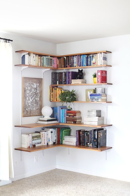 One of my favorite small space hacks is swapping your bookcases for wall-mounted shelving. We've created roundups of wall mounted shelving systems before, but for those of you who are especially crafty there are also plenty of DIY options. Here are eight different DIY ways to turn a blank wall into a storage mecca.