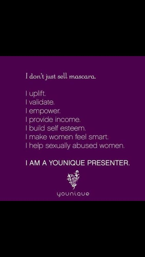 I do so much more than just sell Younique mascara. I love this company and what they stand for. Together we help women everywhere. https://www.youniqueproducts.com/AndreaWow