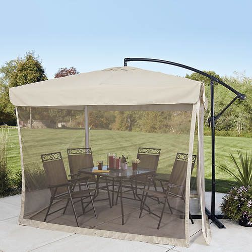 8 X8 Offset Umbrella With Mosquito Screen Best Patio Umbrella