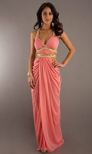 Coral and gold indian inspired evening gown greek toga for Toga style wedding dress