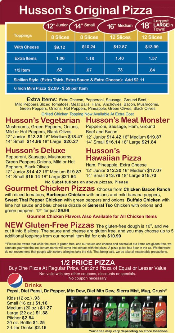 Hussons Pizza Menu - GF crust