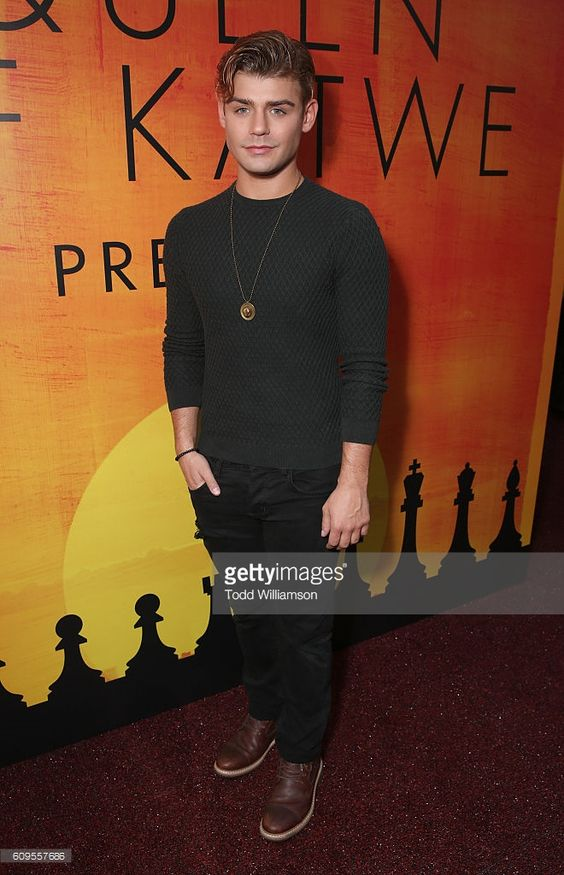 Garrett Clayton attends the Premiere Of Disney's 'Queen Of Katwe' at the El…
