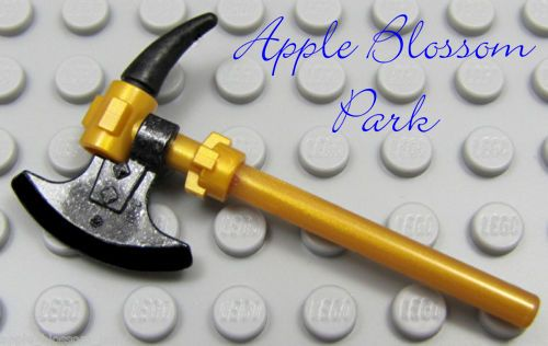 NEW Lego Ninjago Ninja GOLD CEREMONIAL STAFF Axe Blades /& Spikes Minifig Weapon