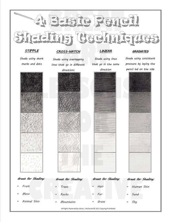 shading techniques worksheet. Black Bedroom Furniture Sets. Home Design Ideas