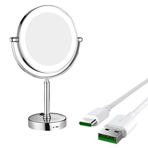 Gurun Tabletop Swivel Led Lighted Makeup Mirror 5x Magnification Rectangle Chrome Finish M20 Makeup Mirror With Lights Wall Mounted Makeup Mirror Makeup Mirror