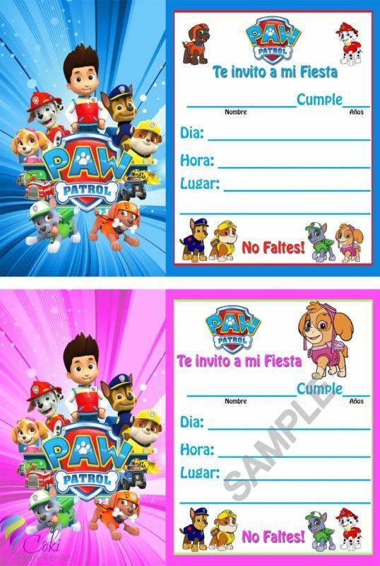Invitaciones Paw Patrol Espanol Nino Y Nina 12 Birthday P Invitaciones De Paw Patrol Invitacion Cumpleaños Patrulla Canina Tarjetas De Cumpleaños Para Niños