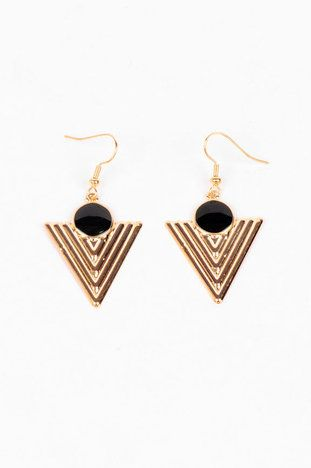 Pointed Down Arrow Earrings in Black and Gold $6 at www.tobi.com