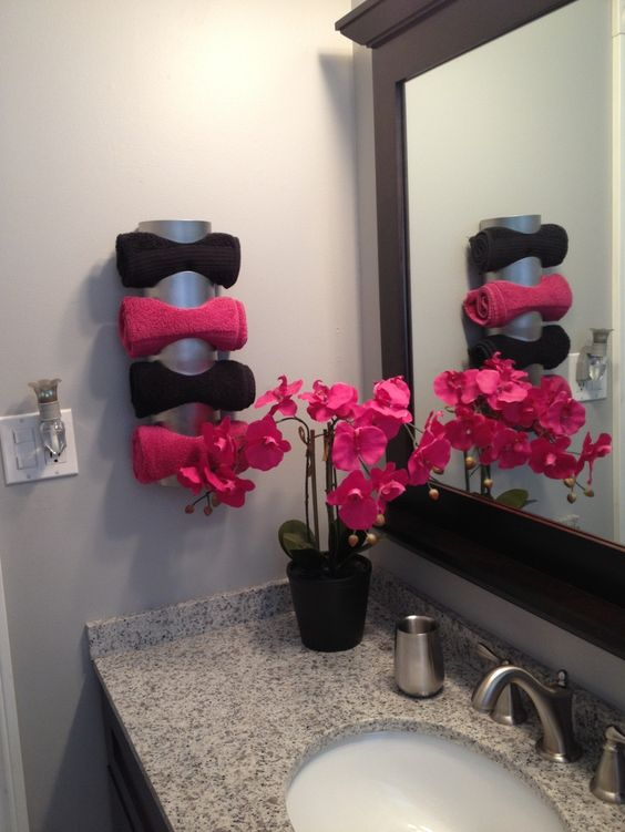 Towel holder using a wine rack from ikea ikea towel rack Towel storage ideas ikea