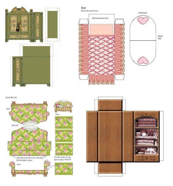 Что и как сделать из бумаги и картона мебель для кукол