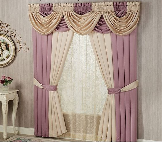 Curtains Ideas curtains decoration pictures : Window valance curtains in beige and ash pink living room ...