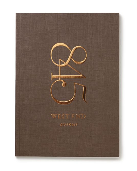 Embossed and foiled brochure for upscale property 845 West End Avenue. Designed by And Partners