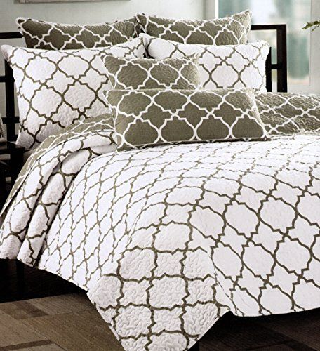 Max Studio Home Quatrefoil Quilt Bedspread 3pc King / California King Quilt Set Coverlet Reversible Lattice Moroccan Tiles Medallion Print Quatrefoil Quilted Bedding Charcoal Grey Taupe White, http://www.amazon.com/dp/B00YHVBY9Y/ref=cm_sw_r_pi_awdm_jkVLvb0NEAGP9