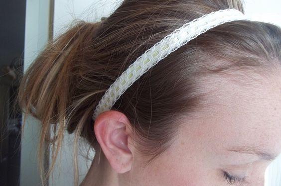 Lace headband with light yellow ribbon by tayleredforyou on Etsy, $8.00