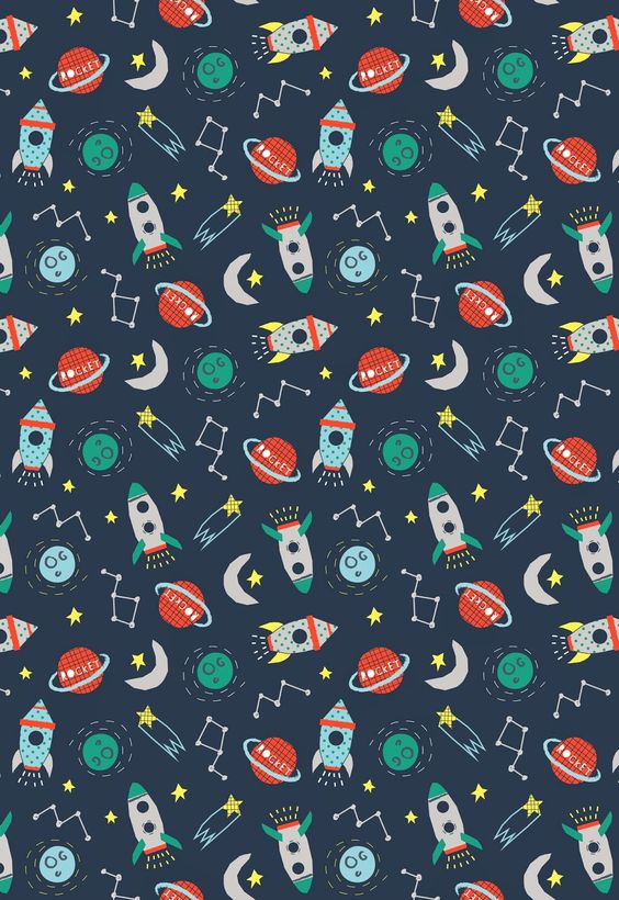 Baby art for kids and patterns on pinterest for Outer space wallpaper design